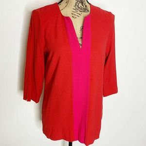 Ilse Jacobsen V Neck Top Red Pink Size Small 36